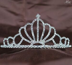 Silver Small Rhinestone Crystal Royal Party Hair Headband Crown Tiara For Kid