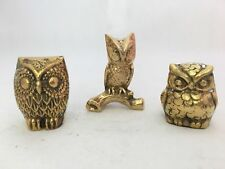 Vintage owl Solid Brass 3 piece figurine statue set paper weight lot family pcs