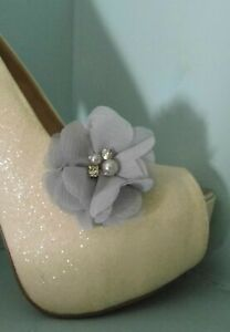 2 Silver Grey Chiffon Clips for Shoes with Pearl & Diamante Centre