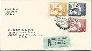 1953 Registered FDC to USA set 3 Stamps Backstamped registered