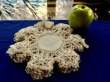 """Set 12 Antique Edwardian Unused Linen Cluny Hand Bobbin Lace Trim 8"""" Tea Doilies"""