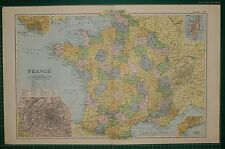 1905 antique map ~ france sud vendée orne somme calais ~ plan de paris havre