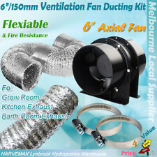 "Hydroponics 6""/150mm Intake Exhaust Fan Aluminum Ducting Combo Ventilation Kit"