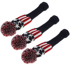 3x Red Pom Pom Headcover Golf Driver Head Covers Knited Sock for Golf Clubs