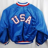 Vintage 90s USA Satin Jacket Mens Large Embroidered Olympic Snap Quilted Blue