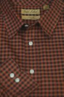 Roundtree & Yorke Men's Rust Black Check Cotton Casual Shirt 2XT 2X Tall
