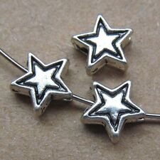 30pcs Retro Tibetan Silver 2-Sided Five-pointed Star Spacer Beads Findings PJ40