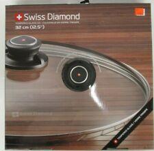 "New listing Swiss Diamond 12.5"" (32cm) Tempered Glass Lid W/ Adjustable Steam Vent - Sss 161"