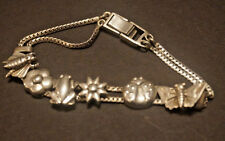 "Sterling Silver 925 Bracelet,Slide Charm,Double Chain,7"""