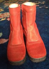 Novasport Red Suede Leather Ankle Boots Shearling Lined Side Zip Italian Vintage