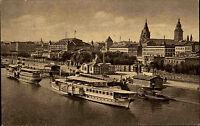 Mainz Rheinland Pfalz alte Ansichtskarte ~1910 Rheinansicht Schiffe Promenade