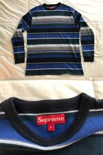 Authentic SUPREME Lg Surf/Skater Style STRIPED Long Sleeve Box Logo Tab T-SHIRT