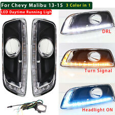 3 COLOR LED DRL FOR CHEVY MALIBU 2013 2014 DAYTIME RUNNING LIGHT FOG LAMP W TURN