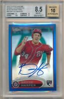 BRYCE HARPER 2012 TOPPS CHROME RC BLUE REFRACTOR AUTO SP #/199 BGS 8.5 NM-MT+ 10
