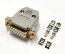 DB 15 Pin Female D-Sub Cable Mount Connector w/ Plastic Cover & Hardware DB15