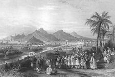 China NANKING NANJING JIMING LINGGU TEMPLE CITY WALLS ~ 1842 Art Print Engraving