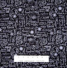 "Christmas Fabric - Crystal Palace Gray Winter Words Black - StudioE Cotton 29"""