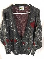 Vintage Le Tigre Knit Gray red Cardigan Sweater SIZE XL Cosby 80s 90s geometric