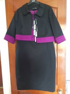 LADIES BRAND NEW AUTOGRAPH BLACK AND PURPLE DRESS AND JACKET SIZE 16 BNWT