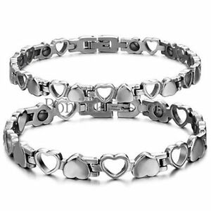 Silver Stainless Steel Hollow & Solid Heart Eternity Love Magnetic Bracelet