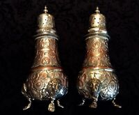 Vintage English Engraved Lion Paw Foot Salt and Pepper Shakers