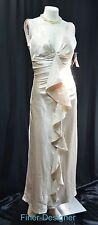 Rampage champagne liquid satin dress Wedding Formal waterfall ruffle Gown 5 NWT