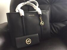 NWT Michael Kors PVC Sady Carryall XL Weekender Shoulder Tote & Wallet ( Black)