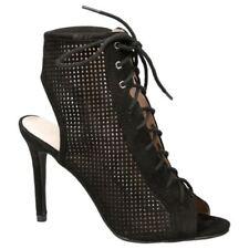 High (3 in. to 4.5 in.) Suede Open Toe Stiletto Heels for Women