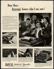 1946 ROYAL Portable Typewriter - Pretty Secretary - Lucky Girl VINTAGE AD