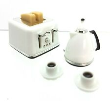 Doll House Accessories 1:12th Miniature- 1 Set Toaster Kettle & 2 Cups & Saucers
