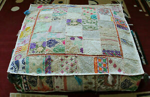 """Embroidered square 16"""" White cotton Boho patchwork heavy duty ottoman puff cover"""