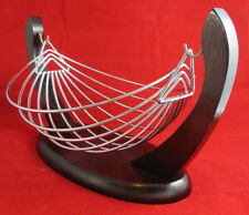 Wire Fruit Basket Hammock Bowl Stand With Wooden Base