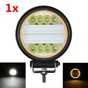 1x Aluminum Round 48W LED Work Light Flood Driving Fog Lighting w/ Angle Eyes