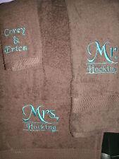 Mr. & Mrs. Monogram heart Personalized 3 Piece Bath Towel Set ANY COLOR