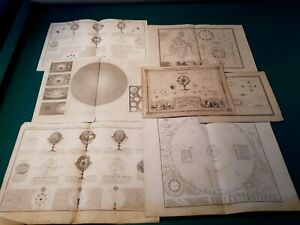 SET 7 Antique Astronomical Celestial Maps Charts Cosmography Solar system moon