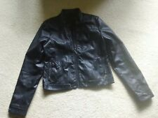 Junior's Faux Black Leather Jacket - Size Large