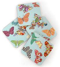 Mackenzie-Childs Set Of 4 Butterfly Garden Sky Coasters-Cork Back-Heat Resistant