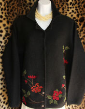862df01a009 Black Boiled Wool Jacket Colorful Floral Embroidery Sz L Long Sleeve Button  Up