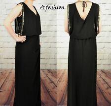 NEXT RRP £55 UK 10 LADIES BLACK COCKTAIL PARTY CHIFFON MAXI DRESS