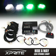 120W 4 LED Strobe Lights Green White Bulbs Hide-A-Way Emergency Hazard Light