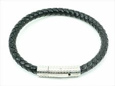 Stainless Steel Black Leather Mens Bracelet Bangle Cuff Braided Men's Unisex
