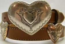 WOMEN JUSTIN THIN SADDLE BROWN LEATHER HEART CONCHO COWBOY WESTERN BELT SIZE 28