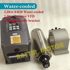 US/EU STOCK 2.2KW Water-cooled spindle motor ER20 &2.2kw Inverter&Clamp Kit