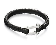 Fred Bennett Bracelet Stainless Steel & Woven Leather Wristband 19 cm B5000