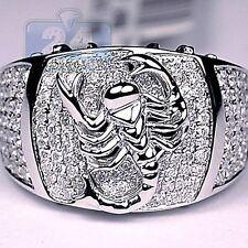 925 Silver White Sapphire Ring Birthstone Men Pave Scorpion Pinky Signet Jewelry