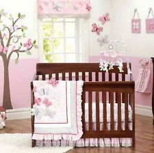 Baby Girls 9 Pieces Pink Butterfly Cotton Nursery Bedding Crib Cot Sets