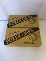 200 Styrene Interlock Poker Chips No. 353 in Original Box Casino Vintage
