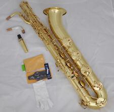 Professional Unlacquer Eb Baritone saxophone sax Low A key high F# wth 2 neck