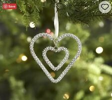 Pottery Barn Double Hanging Beaded Heart  Christmas Ornament