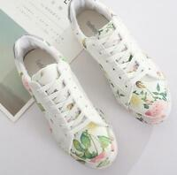 Womens Flats Floral White White Sneakers Casual Lace Up Trainers Shoes Sport New